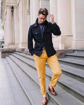 How to wear: navy suede field jacket, navy crew-neck t-shirt, yellow chinos, brown leather loafers