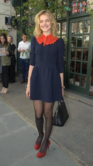 How to wear: navy fit and flare dress, red leather pumps, black leather tote bag, black tights