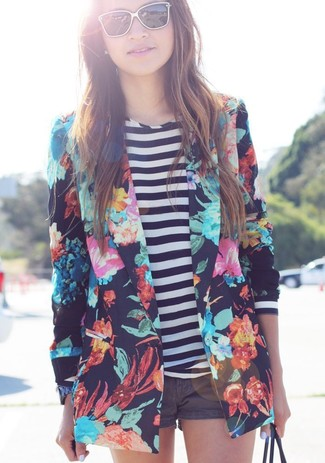 Women's Navy Floral Blazer, White and Navy Horizontal Striped Long Sleeve T-shirt, Charcoal Shorts