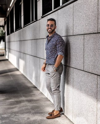 How to Wear a Navy and White Floral Long Sleeve Shirt For Men: Pairing a navy and white floral long sleeve shirt with grey plaid chinos is a smart idea for a casual yet dapper ensemble. Brown suede tassel loafers are the most effective way to power up this outfit.
