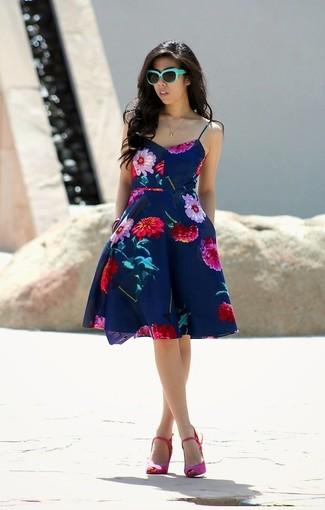 Jolie Moi Teal Floral Skater Dress