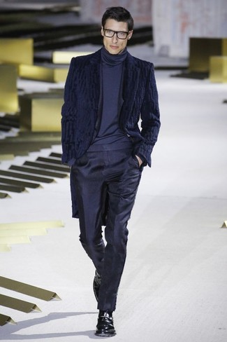 Men S Navy Fur Coat Navy Suit Navy Turtleneck Black Leather Monks