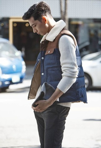 How to wear: navy gilet, beige cable sweater, charcoal wool chinos