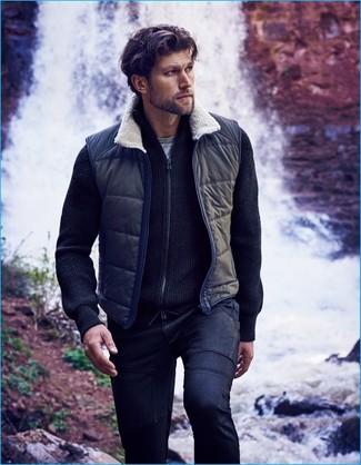 How to wear: navy gilet, navy zip sweater, grey crew-neck t-shirt, navy jeans
