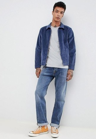 Harrington Jacket Outfits: Opt for a harrington jacket and blue jeans for a laid-back and cool and stylish ensemble. For something more on the daring side to finish your look, introduce a pair of orange canvas high top sneakers to the equation.