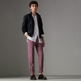 How to wear: navy harrington jacket, white long sleeve shirt, burgundy check chinos, burgundy leather derby shoes