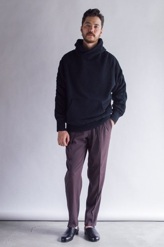 How to Wear a Navy Hoodie For Men: This smart combo of a navy hoodie and burgundy dress pants is very easy to throw together in seconds time, helping you look dapper and prepared for anything without spending a ton of time rummaging through your wardrobe. Black leather loafers are a fail-safe way to breathe a sense of polish into this ensemble.