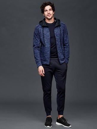 How to wear: navy hoodie, navy long sleeve t-shirt, navy sweatpants, black athletic shoes