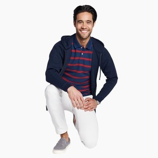 How to Wear a Navy and White Horizontal Striped Polo For Men: This casual combination of a navy and white horizontal striped polo and white chinos is a never-failing option when you need to look casually stylish in a flash. Add a pair of grey canvas slip-on sneakers to the mix et voila, your getup is complete.