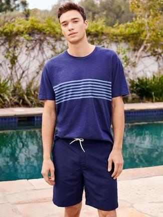 How to wear: navy horizontal striped crew-neck t-shirt, navy swim shorts