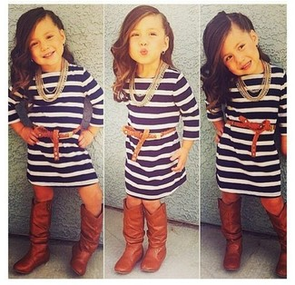 How to wear: navy horizontal striped dress, brown boots
