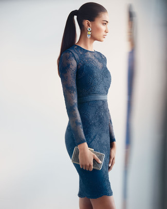 This combo of a navy lace bodycon dress and Balenciaga women's Silver Tone Earring is very versatile and really up for any sort of adventure you may find yourself on. You're guaranteed to always look chic even despite the scorching heat if you have this getup as a last-minute grab.