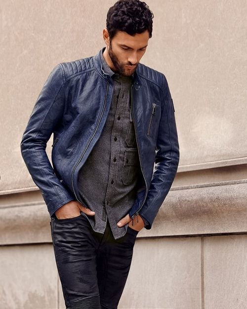 Men's Navy Leather Bomber Jacket, Charcoal Long Sleeve Shirt, Navy ...