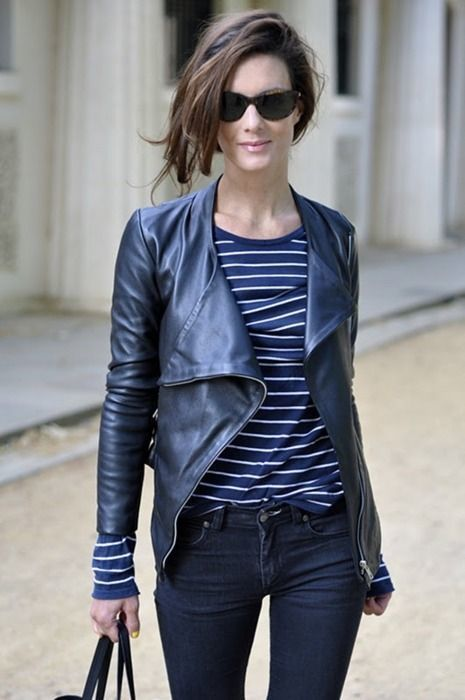 How to Wear a Navy Leather Jacket (28 looks) | Women's Fashion
