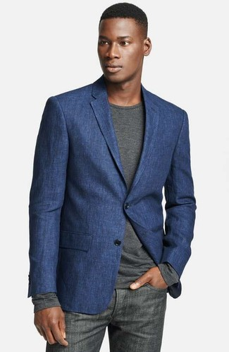 How to wear: navy linen blazer, charcoal long sleeve t-shirt, charcoal jeans