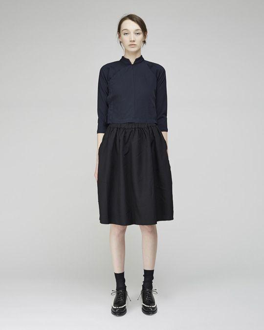 Women's Navy Long Sleeve Blouse, Black Pleated Midi Skirt, Black ...