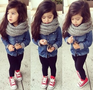 How to Wear a Grey Scarf For Girls: Suggest that your little one pair a navy denim long sleeve shirt with a grey scarf for a laid-back yet fashion-forward outfit. And why not add red sneakers to the mix?