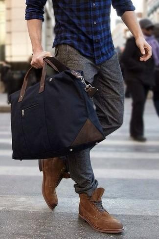 Men's Navy Plaid Long Sleeve Shirt, Grey Wool Dress Pants, Brown Suede  Boots, Navy Canvas Duffle Bag | Men's Fashion