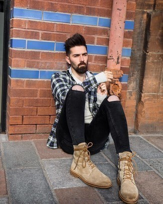 Black Ripped Skinny Jeans Outfits For Men: This combo of a navy plaid flannel long sleeve shirt and black ripped skinny jeans makes for the perfect base for a cool and relaxed look. For something more on the smart end to complement this ensemble, add tan suede casual boots to the mix.