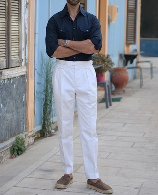 Navy Long Sleeve Shirt Outfits For Men: If you're looking to take your off-duty look up a notch, marry a navy long sleeve shirt with white chinos. Dark brown suede espadrilles are a smart choice to complete your ensemble.