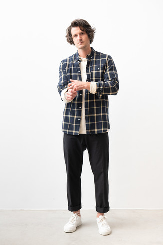 How to wear: navy check flannel long sleeve shirt, white long sleeve henley shirt, black chinos, white leather low top sneakers