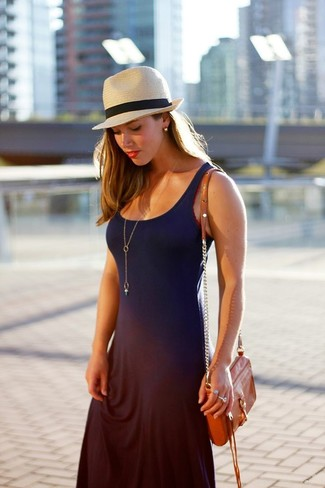 Women's Navy Maxi Dress, Orange Leather Crossbody Bag, Beige Straw Hat