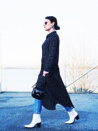 How to wear: navy polka dot midi dress, blue jeans, white leather ankle boots, black leather crossbody bag