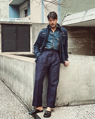 Navy Chinos Outfits: Wear a navy military jacket with navy chinos to pull together an everyday outfit that's full of style and personality. Black leather loafers will bring a classic aesthetic to the ensemble.
