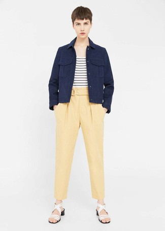 How to wear: navy military jacket, white and black horizontal striped crew-neck t-shirt, yellow tapered pants, white leather heeled sandals