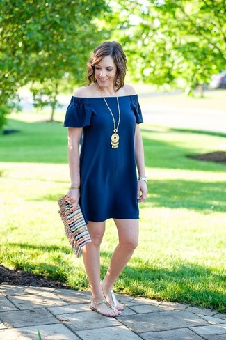 db9e86120942 ... Women s Navy Off Shoulder Dress
