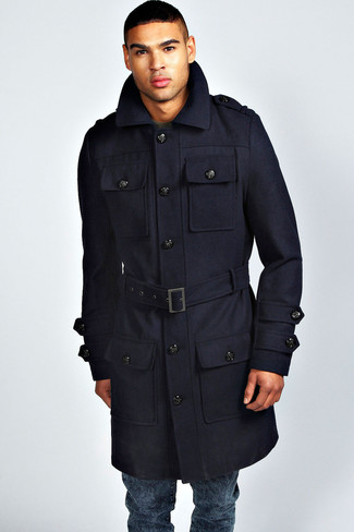 Melton Car Coat With Removable Bib