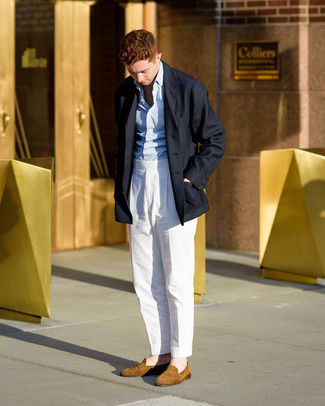 Pants Outfits For Men: Team a navy overcoat with pants if you're going for a sleek, dapper outfit. Serve a little outfit-mixing magic by sporting a pair of tan suede loafers.