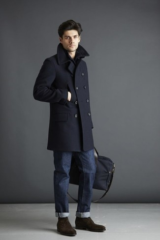 Men's Looks & Outfits: What To Wear In 2020: Team a navy overcoat with navy jeans if you're going for a sleek, dapper ensemble. Introduce a pair of dark brown suede desert boots to your look to have some fun with things.