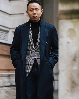 How to wear: navy overcoat, white and black houndstooth blazer, black turtleneck, navy jeans