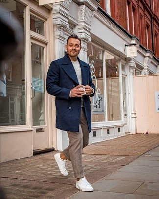 Men's Navy Overcoat, White Crew-neck Sweater, Brown Chinos, White Leather Low Top Sneakers