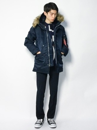 Navy Parka Outfits For Men: For a casual look, pair a navy parka with black chinos — these pieces fit brilliantly together. Black and white canvas low top sneakers are a good choice to round off this outfit.