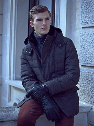 How to wear: navy parka, navy knit turtleneck, burgundy chinos, black leather gloves