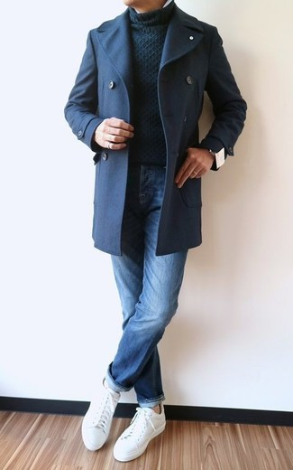 How to wear: navy pea coat, black knit turtleneck, blue jeans, white leather low top sneakers