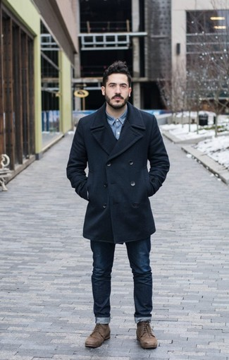 How to wear: navy pea coat, blue denim shirt, navy jeans, brown leather casual boots