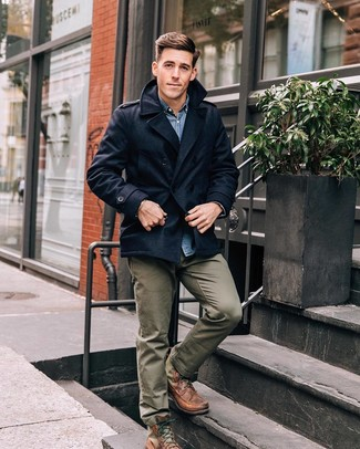 How to wear: navy pea coat, blue denim shirt, olive chinos, brown leather casual boots