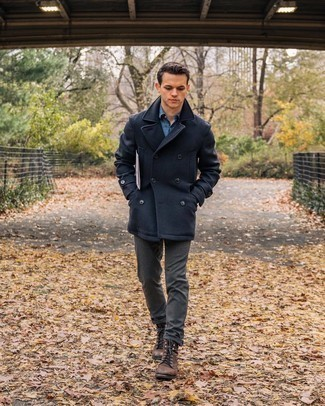 Navy Pea Coat Outfits: This semi-casual pairing of a navy pea coat and charcoal chinos is extremely easy to throw together without a second thought, helping you look awesome and prepared for anything without spending a ton of time going through your wardrobe. A pair of brown leather casual boots looks right at home here.
