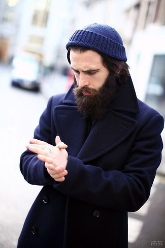 Men's Navy Pea Coat, Navy Beanie | Men's Fashion