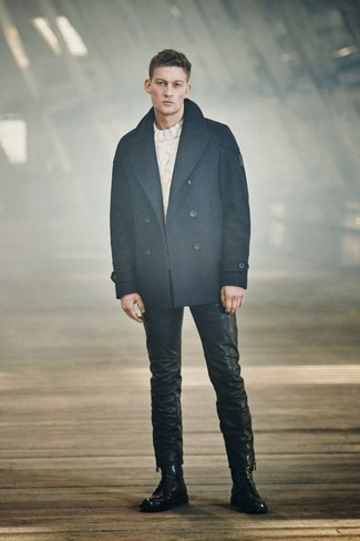 How to wear: navy pea coat, white cable sweater, black leather jeans, black leather casual boots