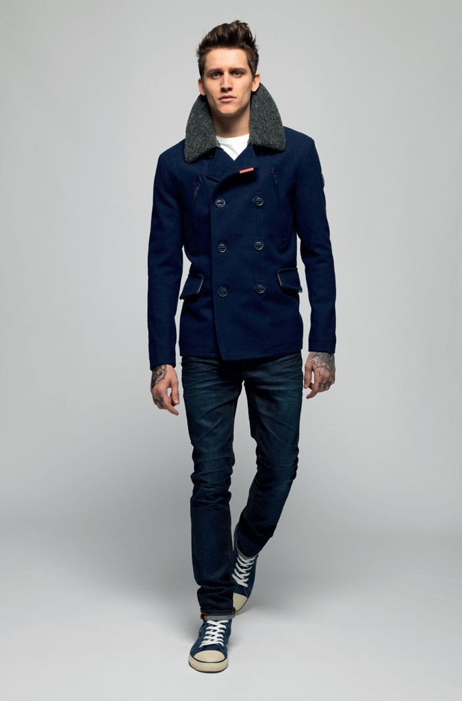 How to Wear a Navy Pea Coat (43 looks) | Men's Fashion