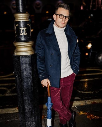 How to Wear a White Wool Turtleneck For Men: A white wool turtleneck and burgundy velvet dress pants are a smart combo that will earn you a great deal of attention. Add black leather chelsea boots to the equation and ta-da: the look is complete.