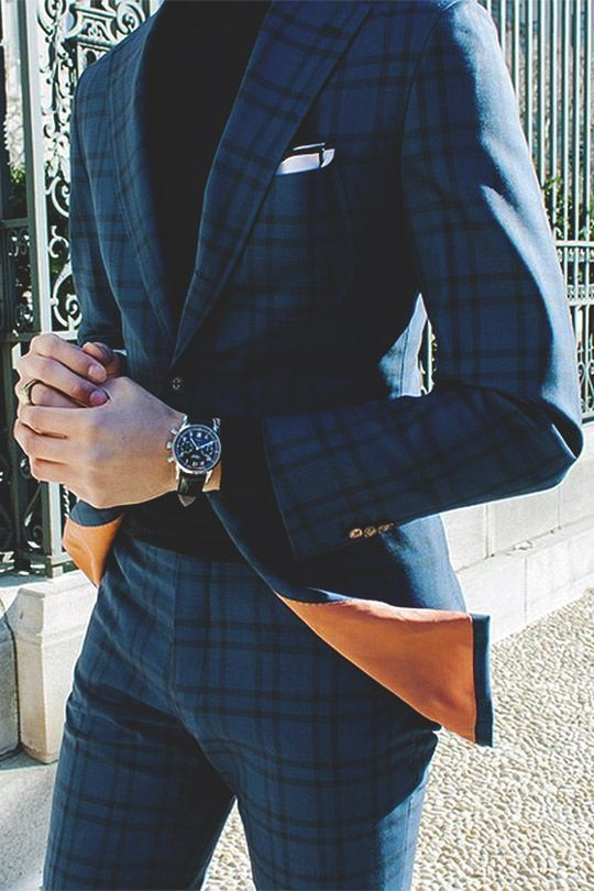 Navy Plaid Suit | Men's Fashion