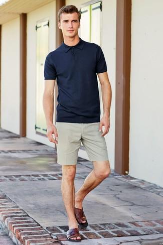 Men's Navy Polo, Beige Shorts, Dark Brown Leather Sandals