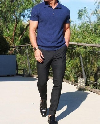How to Wear Black Leather Double Monks: Demonstrate your prowess in menswear styling in this laid-back combination of a navy polo and black chinos. Complement your look with black leather double monks to instantly switch up the ensemble.