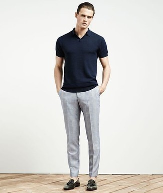 Men's Outfits 2021: A navy polo and grey check chinos are a savvy combination to add to your daily casual arsenal. A pair of dark green leather tassel loafers will give a strong and masculine feel to any ensemble.