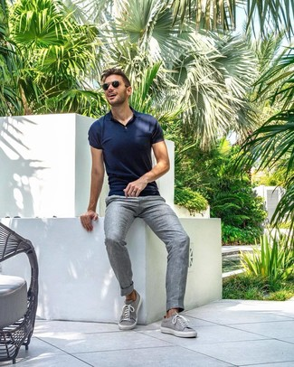 How to wear: navy polo, grey linen dress pants, grey low top sneakers